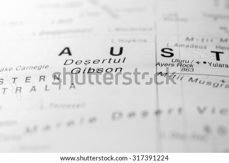 Map view of Gibson Desert, Australia