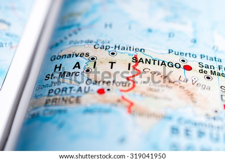 Map view of Haiti state, Central America. - stock photo