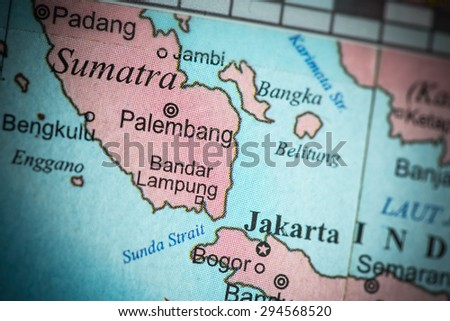 Map view of Indonesia on a geographical globe. (vignette)
