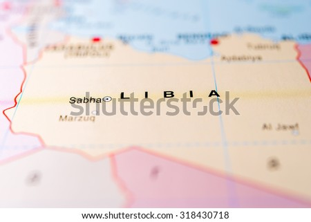 Map view of Libya. - stock photo
