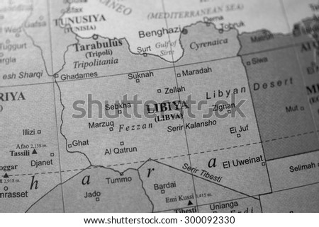 Map view of Libya on a geographical globe. (black and white) - stock photo