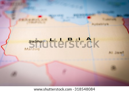 Map view of Libya. (vignette) - stock photo