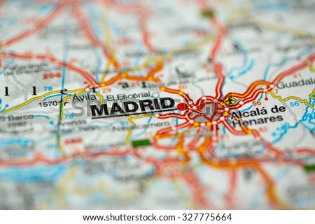 Map view of Madrid, Spain on a geographical map. - stock photo