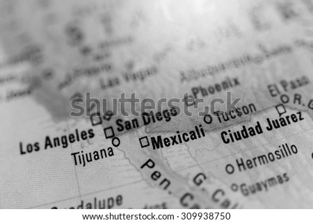 Map view of Mexicali on a geographical globe - stock photo