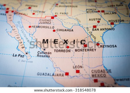 Map view of Mexico. (vignette) - stock photo