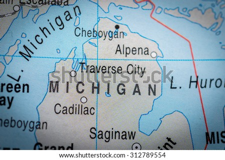 Map view of Michigan State - stock photo