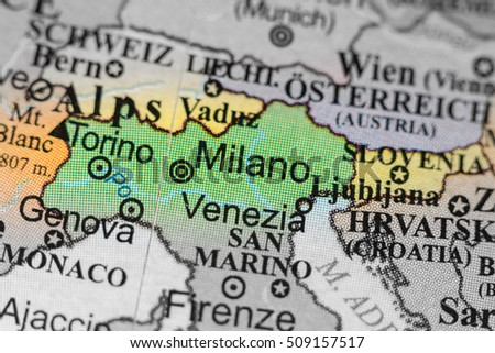 Milanomap stock images royalty free images vectors shutterstock map view of milano italy on a geographical map of europe gumiabroncs Image collections
