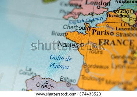 Map view of Nantes, France on a geographical map of Europe.