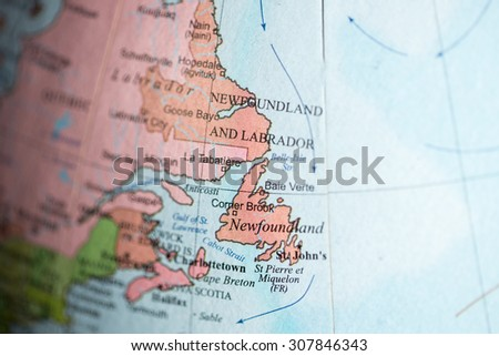 Map view of Newfoundland, Canada on a geographical map.