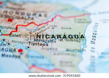 Map view of Nicaragua state, Central America. - stock photo