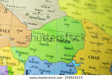 Map view of Niger on a geographical globe.