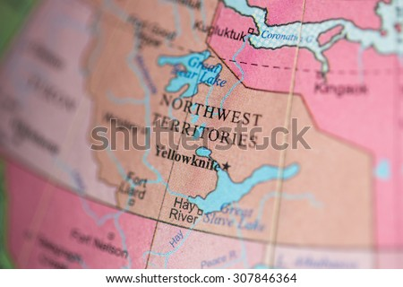 Map view of Northwest Territories, Canada on a geographical map. - stock photo