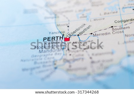 Map view of Perth, Australia - stock photo