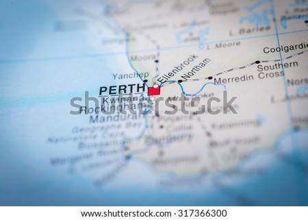 Map view of Perth, Australia. (vignette) - stock photo