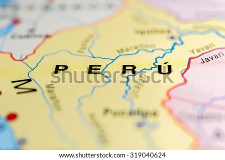 Map view of Peru state, South America. - stock photo