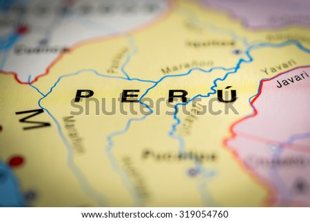 Map view of Peru state, South America. (vignette) - stock photo