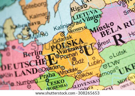 Map view of Poland on a geographical map.