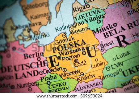 Map view of Poland on a geographical map. (vignette)
