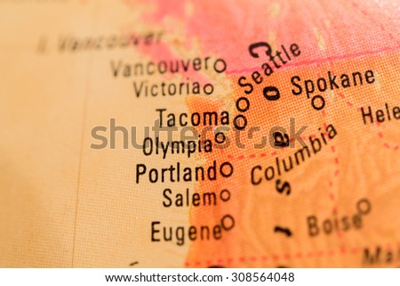 Map view of Portland on a geographical globe - stock photo