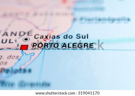 Map view of Porto Alegre, Brazil. - stock photo