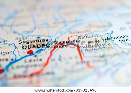 Map view of Quebec, Canada. - stock photo