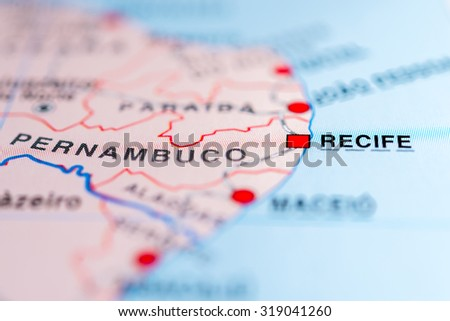 Map view of Recife, Brazil. - stock photo