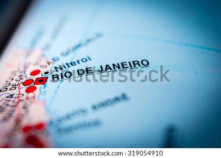 Map view of Rio de Janeiro, Brazil. (vignette) - stock photo