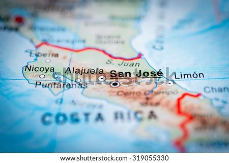 Map view of San Jose, Costa Rica. (vignette) - stock photo