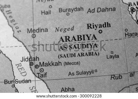 Saudi Arabia Map Flag Map View of Saudi Arabia on a