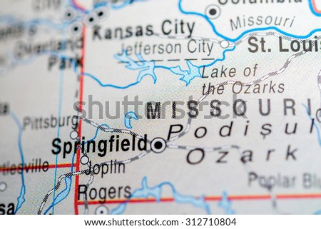 Map view of Springfield - stock photo