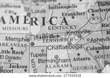 Map view of Tennessee on a geographical globe. (black and white) - stock photo