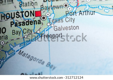 Map view of Texas City - stock photo