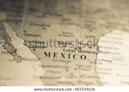 Map View Torreon Mexico On Geographical Stock Photo (Royalty Free ...