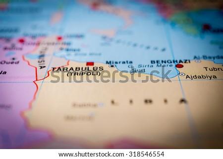 Map view of Tripoli, Libya. (vignette) - stock photo