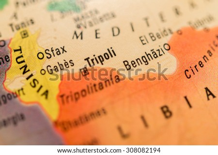 Map view of Tripoli on a geographical globe - stock photo