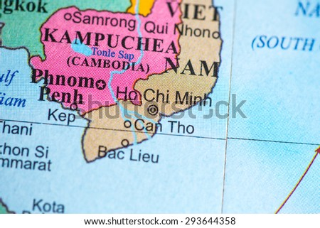 Map view of Vietnam on a geographical globe.
