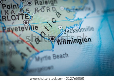 Map view of Wilmington - stock photo