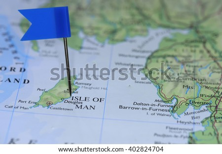 Map with blue flag in Isle of Man - stock photo