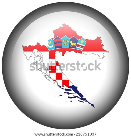 Map with flag in button - Croatia