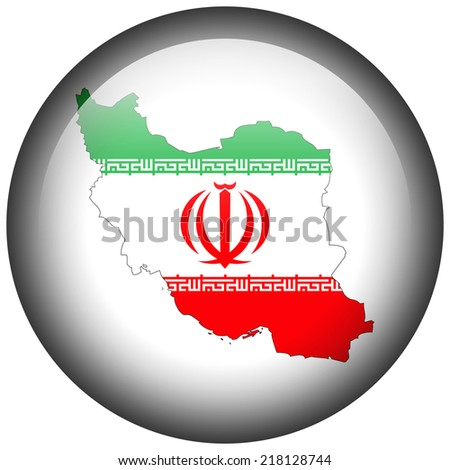 Map with flag in button - Iran