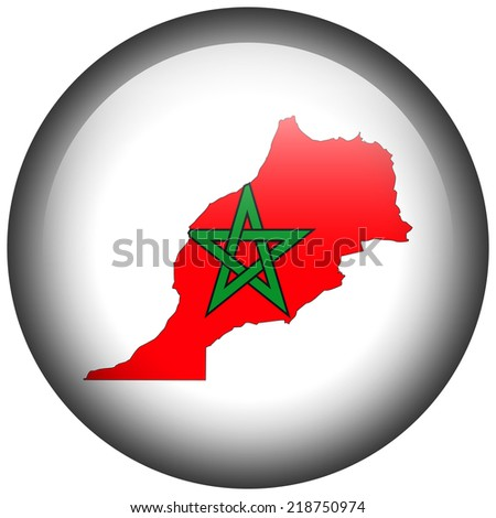 Map with flag in button - Morocco