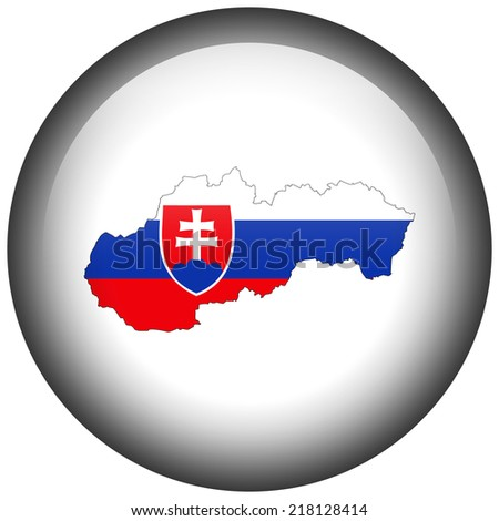 Map with flag in button - Slovakia