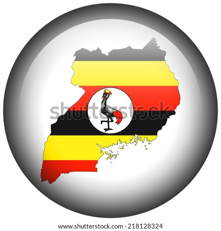 Map with flag in button - Uganda - stock photo