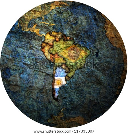 map with flag of argentina on isolated over white map of globe