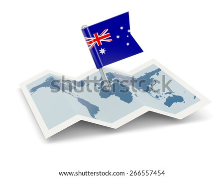 Map with flag of australia isolated on white - stock photo