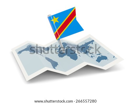 Map with flag of democratic republic of the congo isolated on white - stock photo