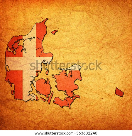 map with flag of denmark with national borders - stock photo