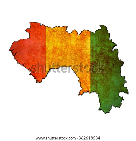 map with flag of guinea with national borders - stock photo