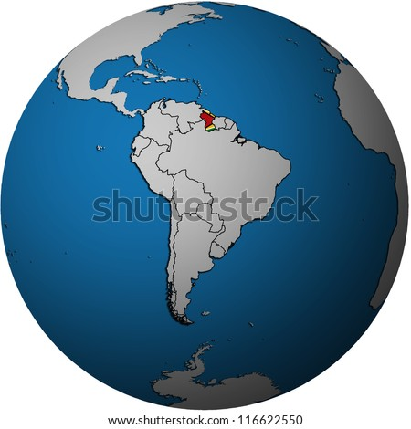map with flag of guyana on isolated over white map of globe