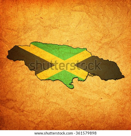 map with flag of jamaica with national borders - stock photo